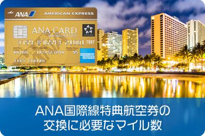 ANA国際線特典航空券の交換に必要なマイル数