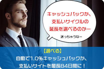 【選べる】自動で1.0%キャッシュバックor支払いサイトを最長84日間に!